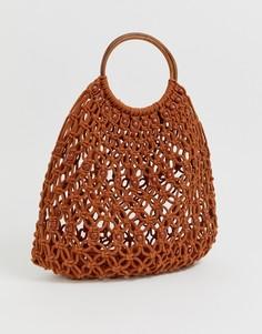 2d21f906989b Коричневая плетеная сумка с деревянной ручкой Pimkie - Коричневый