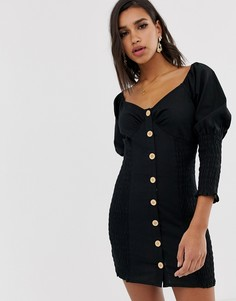 Платье мини на пуговицах со сборками ASOS DESIGN - Черный
