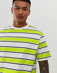 Свободная футболка лаймового цвета в полоску Another Influence - Желтый