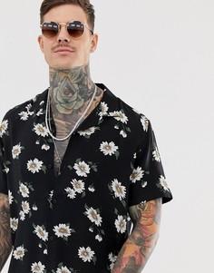 Рубашка классического кроя с цветочным принтом ASOS DESIGN - Черный