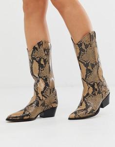 Высокие кожанные ботинки в стиле вестерн с эффектом змеиной кожи DEPP - Мульти