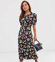 Чайное платье миди с ярким цветочным принтом ASOS DESIGN Petite - Мульти