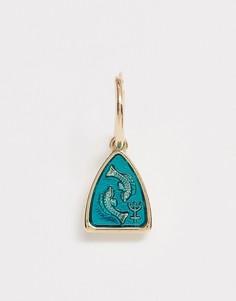 Серьги-кольца с подвеской в виде рыбки ASOS DESIGN - Золотой