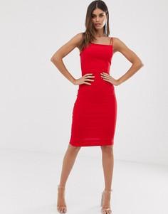 Красное платье миди с двойными бретелями и квадратным вырезом Vesper - Красный