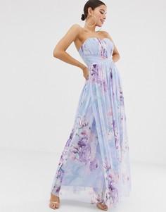Сетчатое платье макси с вырезом бандо и цветочным принтом Lipsy - Мульти
