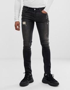 Черные джинсы скинни с рваной отделкой Religion - Черный