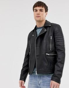 Кожаная байкерская куртка на молнии со стеганой отделкой Barneys Originals - Черный