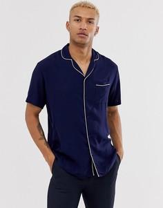 a9a7703edac4fc8 Темно-синяя рубашка в пижамном стиле Lockstock - Темно-синий с высоким  воротником