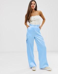 Атласные брюки карго Daisy Street - Синий