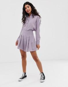 Комбинируемая плиссированная мини-юбка в клетку Daisy Street - Фиолетовый