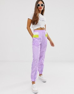 Свободные джоггеры с контрастными вставками Daisy Street - Фиолетовый