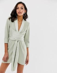 Платье-смокинг со сборками на рукавах ASOS DESIGN - Зеленый