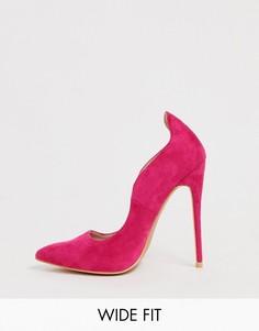 Остроносые туфли на каблуке цвета фуксия для широкой стопы Lost Ink Abi - Розовый