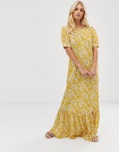Платье макси с цветочным принтом и пышными рукавами Vila - Желтый