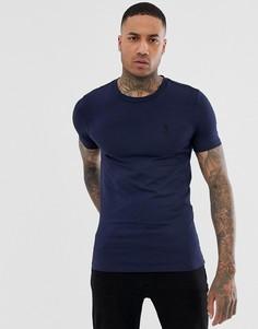 Темно-синяя обтягивающая футболка с круглым вырезом Religion - Темно-синий