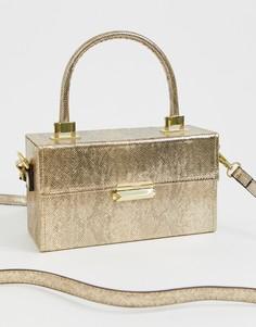 Структурированная сумка из искусственной змеиной кожи с короткими ручками BCBGeneration - Золотой