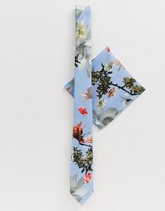 Синий свадебный галстук-бабочка с цветочным принтом и платок для пиджака ASOS DESIGN - Мульти