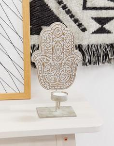 Подсвечник с дизайном в виде ладони для чайных свечей Candlelight - Серый