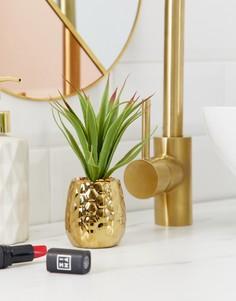 Золотистый горшок для цветов с искусственным растением Candlelight - Золотой