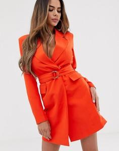 Удлиненное оранжевое платье-блейзер с пряжкой Club L London - Оранжевый