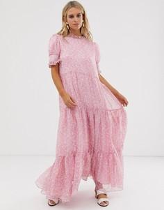 Ярусное платье макси с цветочным принтом Sister Jane - Розовый