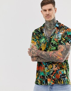 f4739e2ec19 Рубашка с короткими рукавами и разноцветным лиственным принтом Bershka -  Мульти