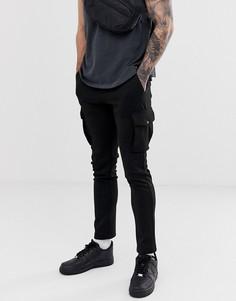 Черные облегающие брюки-карго River Island - Черный