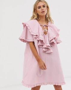 Свободное платье мини с оборками Sister Jane - Розовый