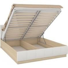Кровать Моби Линда 303 160 п/м дуб сонома/к/з белый Mobi