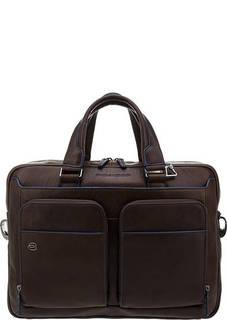 Сумка Коричневая кожаная сумка с карманами Piquadro