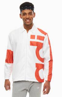 Ветровка белого цвета на молнии Adidas