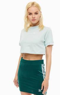 Футболка Укороченная хлопковая футболка мятного цвета Adidas