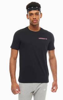 Футболка Черная хлопковая футболка с круглым вырезом Adidas