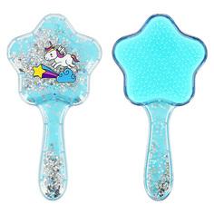 Расческа для волос LADY PINK UNICORN голубая с блестками