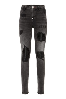Черные джинсы с фактурной отделкой Philipp Plein