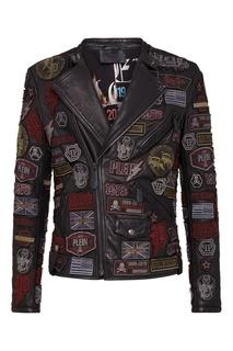 Байкерская куртка с нашивками Philipp Plein