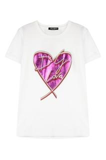 Белая футболка с фактурной отделкой Dolce&Gabbana