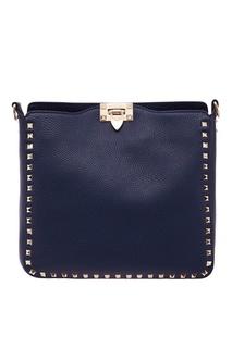 Синяя сумка с золотистыми шипами-пирамидками Valentino