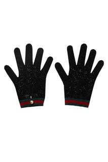 Вязаные перчатки с отделкой Web Gucci