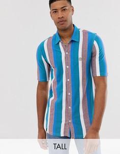 Рубашка с короткими рукавами в полоску Le Breve Tall - Синий