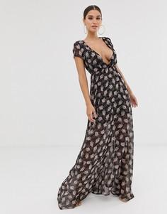 Платье макси с цветочным принтом и V-образным вырезом Club L - Темно-синий