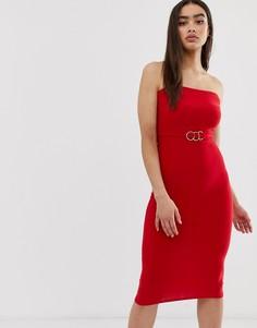 Платье-бандо миди с золотистой отделкой на поясе Club L - Красный