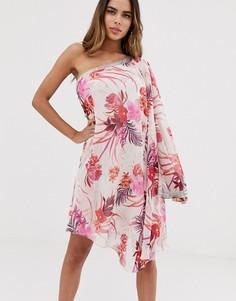 Шифоновое платье мини на одно плечо с отделкой и цветочным принтом Lipsy - Мульти