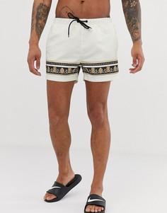 Белые шорты для плавания с отделкой в стиле барокко Good For Nothing - Белый