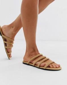 Бежевые сандалии с ремешками Monki - Бежевый