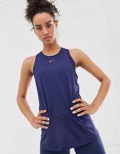 8ef8b31047c7 Темно-синяя майка Nike Pro Training - Темно-синий