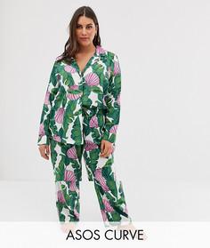 Пижама из 100% модала с пальмовым принтом ASOS DESIGN Curve - Мульти