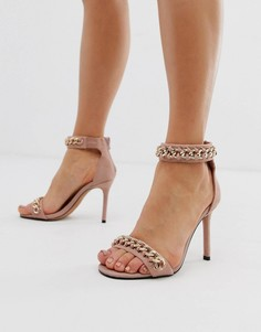 Розовые легкие босоножки на каблуке с цепочками River Island - Розовый