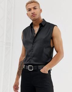 Черная атласная рубашка классического кроя без рукавов ASOS DESIGN - Черный