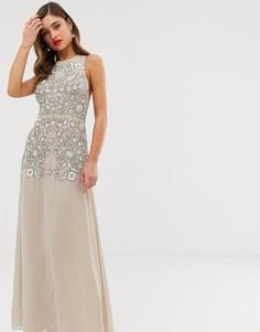 Платье макси с декоративной отделкой Frock & Frill - Бежевый